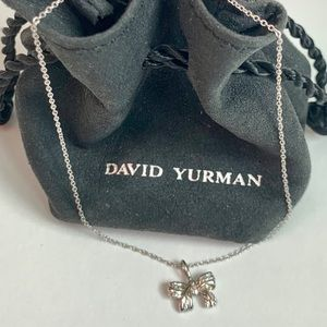 David Yurman 18K White Gold Diamond Bow Necklace